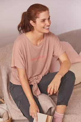 Next Womens Pink Linen Blend Slogan T-Shirt - Pink