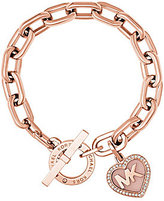 Michael Kors Valentine's Day Heart Cubic Zirconia Logo Toggle Bracelet