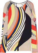 Emilio Pucci Tulle-paneled printed stretch-jersey top