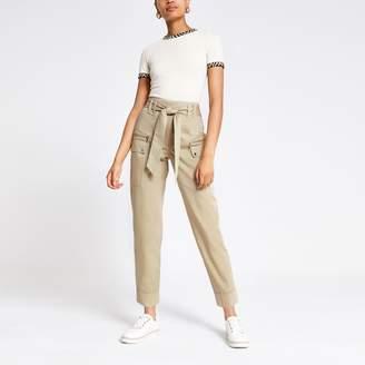 River Island Womens Beige utility peg trousers