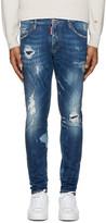 DSQUARED2 Blue Destroyed Skinny Dan Jeans