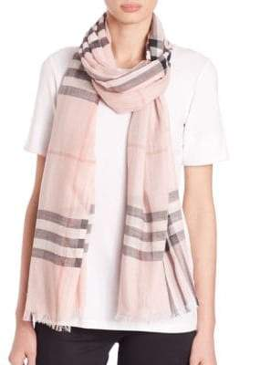 Burberry Women's Giant Check Gauze Scarf - Ash Rose