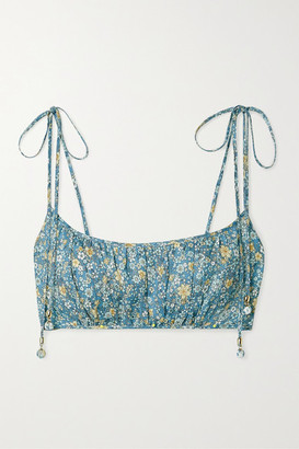 Zimmermann Carnaby Cropped Gathered Floral-print Linen Top - Light blue
