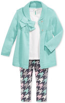 First Impressions Baby Girls' 3-Pc. Bow Cardigan, Tunic & Houndstooth-Print Leggings Set, Only at Macy's