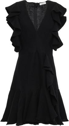 Sandro Ruffled Plisse Satin-crepe Mini Dress