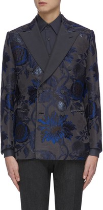 Brioni Floral jacquard double breasted blazer
