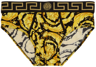 Versace Underwear Black and Gold Barocco Briefs