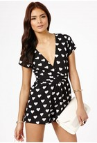 Heart Print Wrap Playsuit