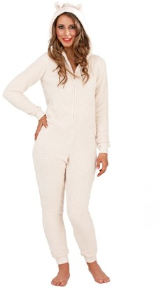 Style It Up Womens/Ladies Snuggle Onezie with Ears Animal Novelty Soft Fleece Pyjama All in (Cream L)