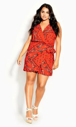 City Chic Bandana Dress - tomato