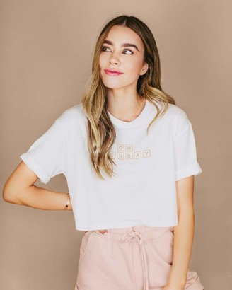 "The Drop Women's White Boxy ""Oh Sunday"" Block Logo T-Shirt by @sierrafurtado XS"