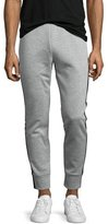 Theory Teknit Track-Stripe Jogger Pants, Gray