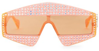 Gucci Fashion Show Orange & Crystal Mask Sunglasses/99MM
