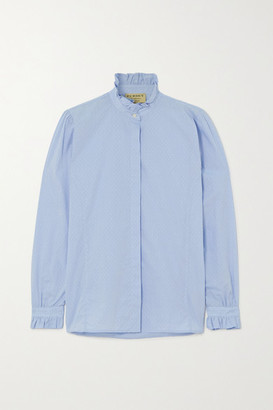 Purdey - Ruffled Embroidered Cotton-chambray Shirt - Light blue