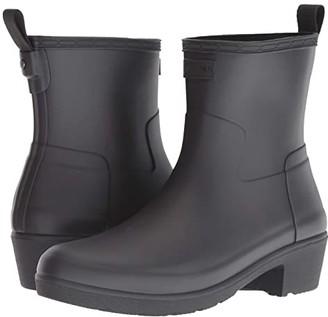 Hunter Refined Low Heel Ankle Biker Rain Boots (Black) Women's Rain Boots