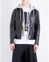 Dsquared2 Detachable-hood Leather Jacket