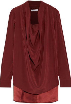 Co Draped Crepe Blouse