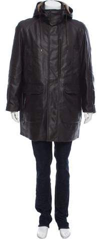 Gucci Shearling-Trimmed Wool Leather Coat