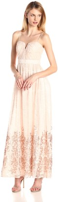 Adrianna Papell Women's Halter Lace and Embellished Gown