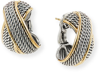 David Yurman Origami Crossover Shrimp Earrings w/ 18k Gold