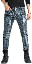 Yollmart Men's Slim Zipper Biker Jeans Moto Denim Pants-tag 32