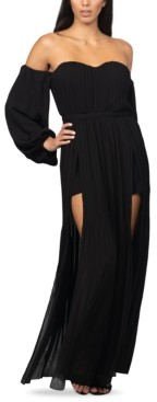 Bebe Off-The-Shoulder Slit-Skirt Maxi Dress