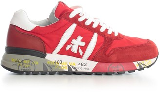 Premiata Lander Sneakers Leather Upper Rubber Sole Red