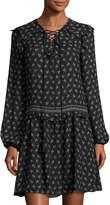 Max Studio Printed Drop-Waist Dress, Black Pattern