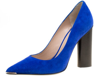 Barbara Bui Cobalt Blue Suede Metal Pointed Toe Block Heel Pumps Size 37