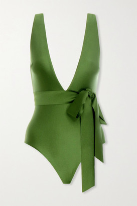 Zimmermann Empire Tie-detailed Swimsuit - Army green