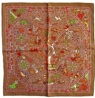 One Kings Lane Vintage Hermes Peuple du Vent Pochette Scarf - The Emporium Ltd. - brown/red/white/green/orange/multi