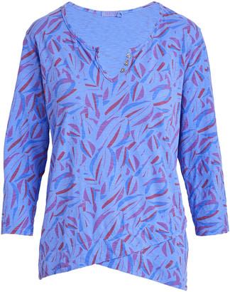 Fresh Produce Women's Blouses PERI - Periwinkle Blue Tumbled Petals Jordan Notch Neck Top - Women