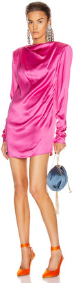 GAUGE81 Pisa Satin Boat Neck Mini Dress in Fuchsia | FWRD