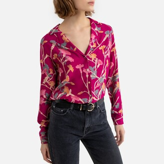 Pieces Floral Print Blouse with Tailored-Collar