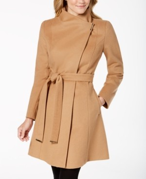 Michael Kors Michael Petite Asymmetrical Belted Coat, Created for Macy's