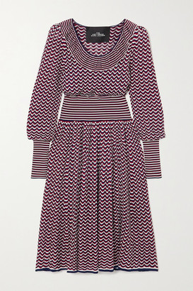 Marc Jacobs Ruffled Striped Pointelle-knit Midi Dress