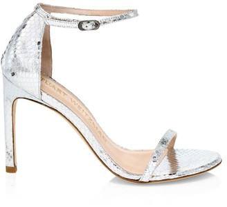 Stuart Weitzman Nudistsong Ankle-Strap Metallic Snakeskin-Embossed Leather Sandals
