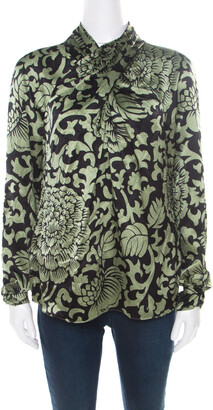 Temperley London Black and Green Floral Printed Textured Silk Faux Wrap Front Top M