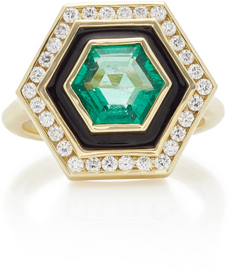 Andrew Glassford Museum Series Emerald 18K Yellow Gold Hexagonal Ring