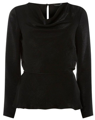 Dorothy Perkins Womens **Black Cowl Neck Top, Black