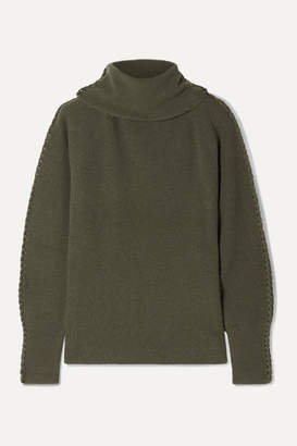 Altuzarra Shakti Braid-trimmed Ribbed Cashmere Turtleneck Sweater - Army green