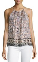 Joie Amarey Floral-Print Silk Tank Top, Orange
