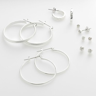 So Silver-Tone Hoop & Stud Earring Set