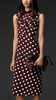 Heart Print Silk Shirt Dress