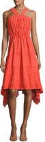 Josie Natori Sleeveless Plisse Stretch-Cotton Dress, Orange