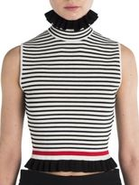 MSGM Ruffled Striped Tee