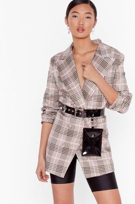 Nasty Gal Womens Ticking the Boxes Check Double-Breasted Blazer - Beige - 10