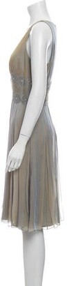 Carmen Marc Valvo Silk Knee-Length Dress Blue