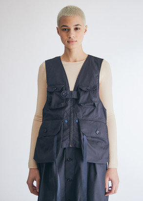Engineered Garments Women's Game Vest in Dark Navy High Count Twill, Size 2XS | 100% Cotton