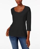 Karen Scott Petite Cotton Button-Trim Top, Created for Macy's